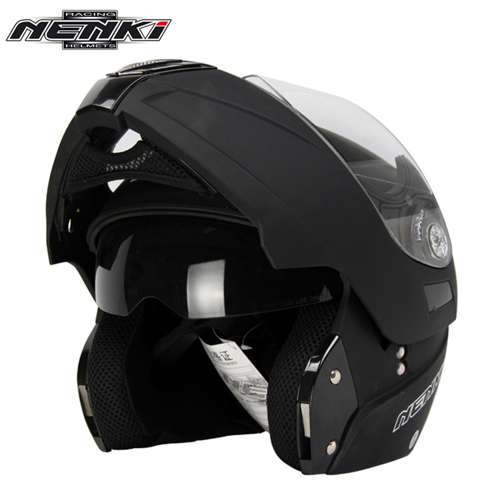 NENKI Matte Black Motorcycle Helmet Full Face Helmet Touring Motorbike Modular Flip Up Helmet Moto Casco with Inner Smoked Lens red green lines double lens motorcycle crash helmet high quality flip up electric motorbike full face motorcycle helmet
