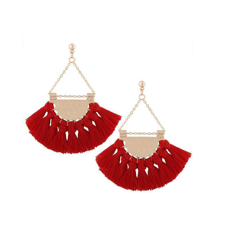 Ethnic Tassel Earrings Vintage Big Cotton Fringe Rope Handmade Brincos Bohemian Dangle Earrings Women Wedding Drop Earrings
