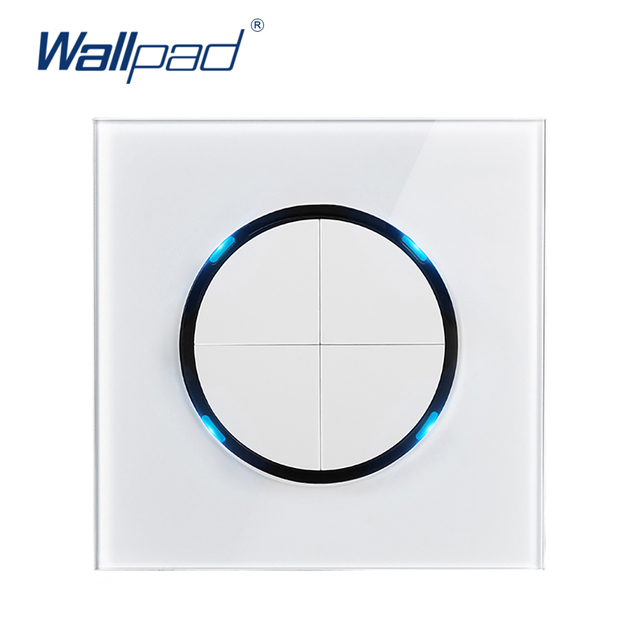 Wallpad 2019 New Arrival 4 Gang 2 Way Random Click Push Button Wall Light Switch With LED Indicator Crystal Glass Panel 16AWallpad 2019 New Arrival 4 Gang 2 Way Random Click Push Button Wall Light Switch With LED Indicator Crystal Glass Panel 16A
