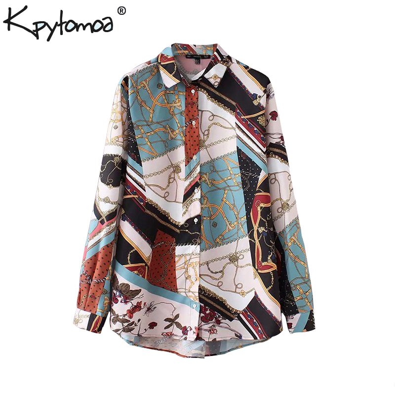 92a39413 Vintage Chic Flowy Chain Print Patchwork Tops Women Shirts 2018 Fashion Lapel  Collar Long Sleeve Lady