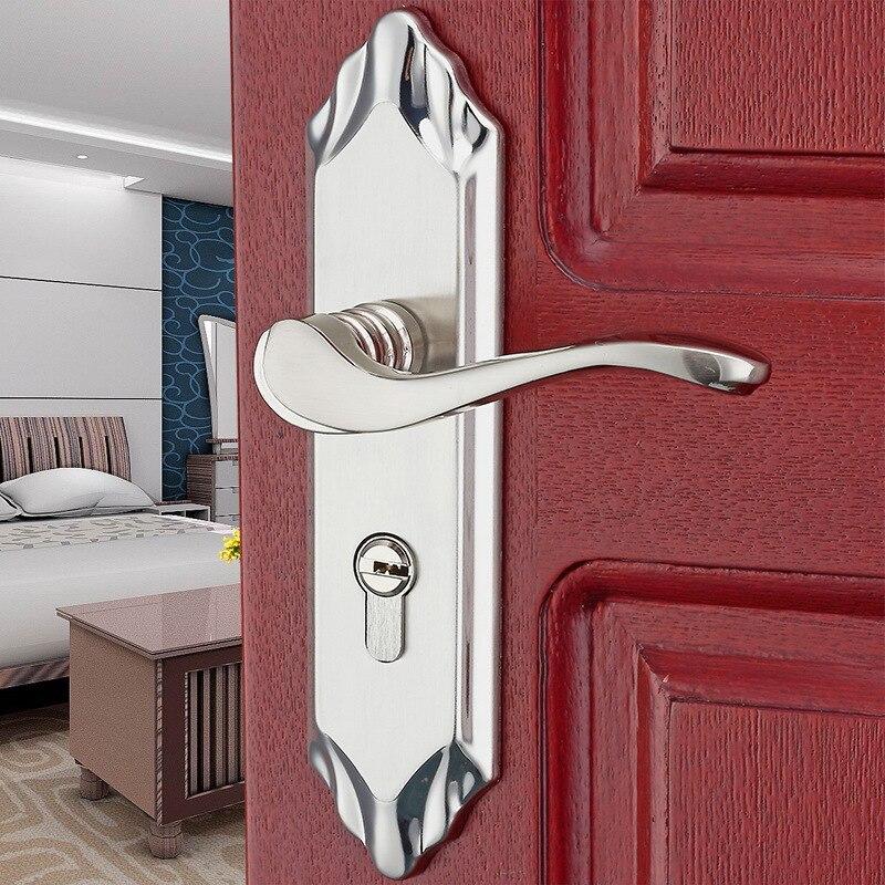Serrure de porte en bois d'intérieur de style européen alliage d'aluminium Nickel brossé serrure de poignée de chambre serrure de porte moderne poignée de porte de chambre