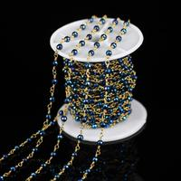 4mm 5 Meters Sale Dark Blue Iron Pyrite Faceted Round Bead Bracelet Wire Wrapped Golden Links