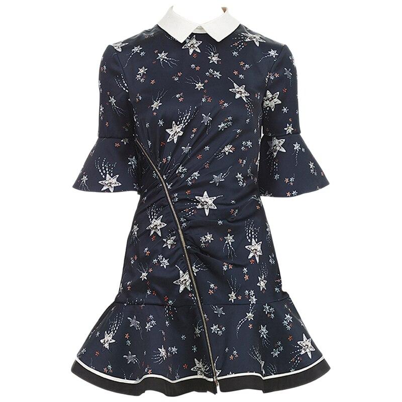 2018 Новое поступление, голубое платье со звездами