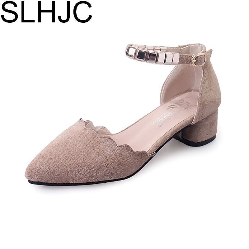 SLHJC 2018 Spring Summer Shoes Low Heel Ankle Metal Bead Strapped Pumps Shoes Women Casual Pointed Toe Sandals 3 CM Heel цена