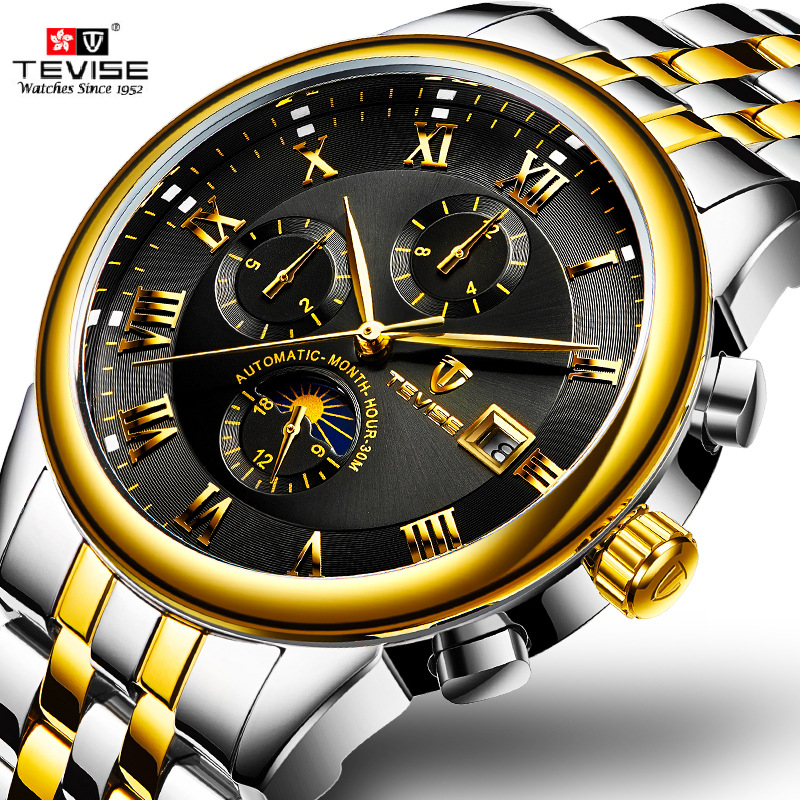 TEVISE Business Multifunction Automatic Mechanical Steel Mens Watches Waterproof Watch Men Luminous Gold Watch Relogio Masculino
