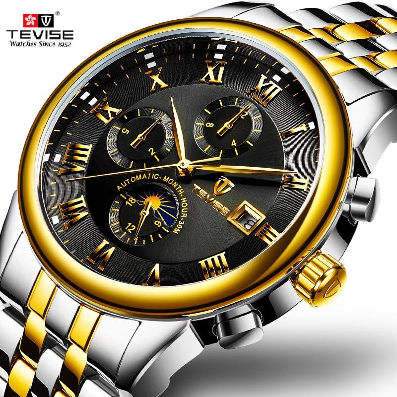 цена TEVISE Business Multifunction Automatic Mechanical Steel Mens Watches Waterproof Watch Men Luminous Gold Watch Relogio Masculino онлайн в 2017 году