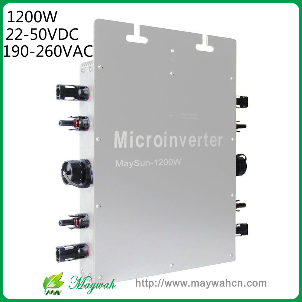 Maywah@ 1200W 22-50VDC Solar Power Micro Inverter, IP65 Micro Grid Tie Inverter with 4 MPPT Controller solar power on grid tie mini 300w inverter with mppt funciton dc 10 8 30v input to ac output no extra shipping fee