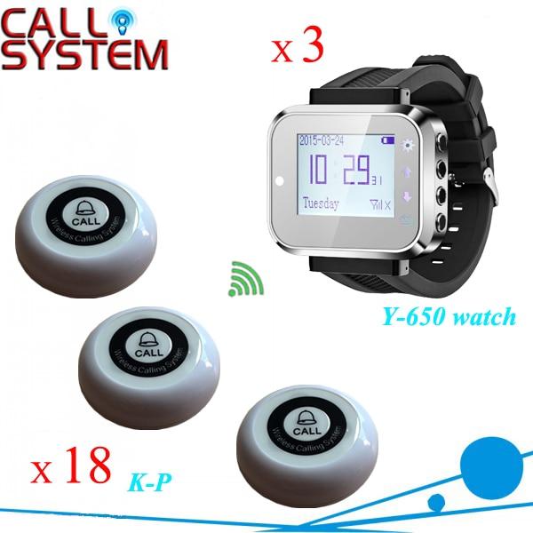 Orologio da polso sistema di chiamata 3 pz K-300plus alfanumerico cercapersone con 18 pz K-P single-chiave buzzer per casa del caffè