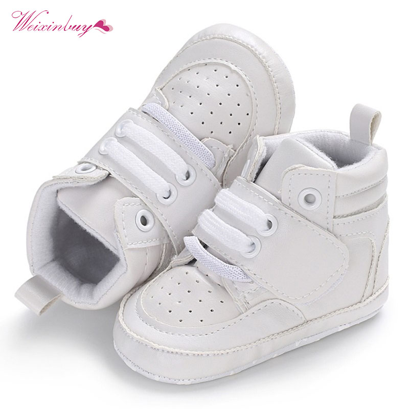 Baby Boys Shoes Newborn Kids Sneakers High Top Solid Soft Sole First Walker Infant Toddler Antislip Prewalker Crib Shoe