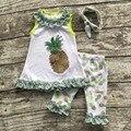 2016 Лето бесплатная доставка ребенок ребенок девушки наряды капри зеленый ананас кружева бутик одежды наборы подходящие аксессуары лук