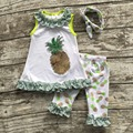 2016 Summer free shipping baby child  girls outfits capris green pineapple lace boutique clothes sets matching accessories bow