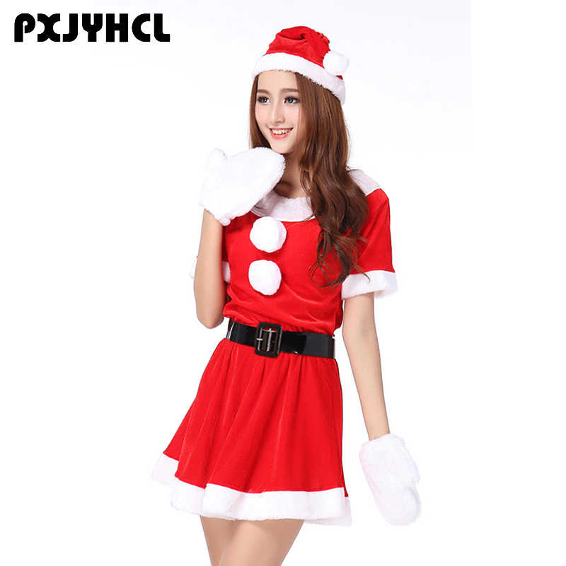 Christmas New Year Costume Onesies For Women Sexy Red Short Dresses Adult  Female Party Clothes Uniform 37370b66d