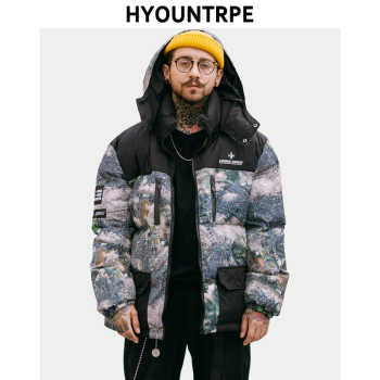 Men Fashion Printed Patchwork Jacket Coat New Winter Casual Warm Thicken Hooded Parka Zipper Cotton Padded Streetwear Outerwear - DISCOUNT ITEM  35% OFF All Category