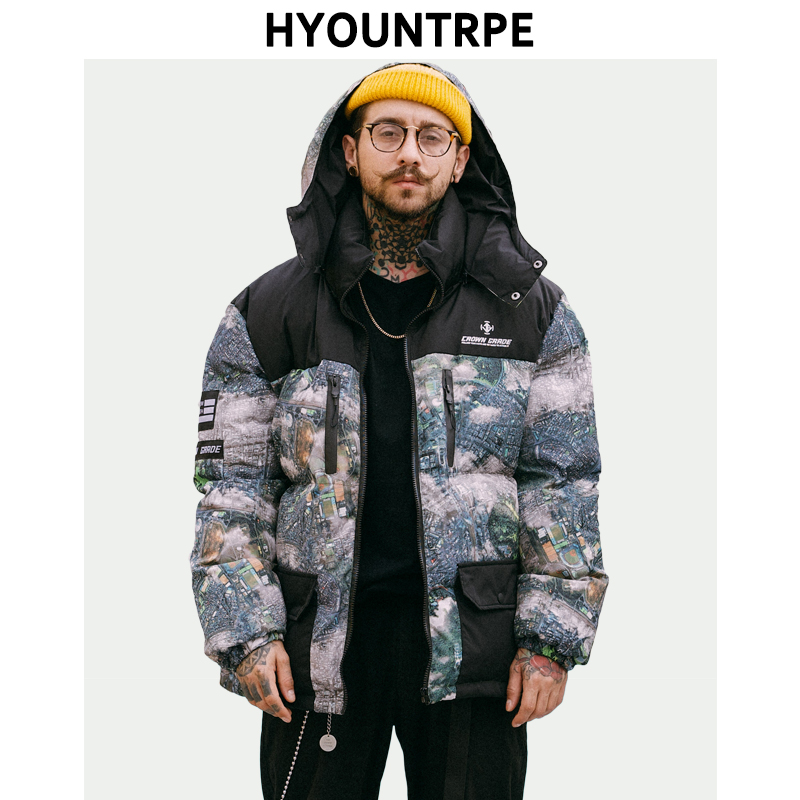 Men Fashion Printed Patchwork Jacket Coat New Winter Casual Warm Thicken Hooded   Parka   Zipper Cotton Padded Streetwear Outerwear
