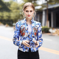 High Quality Designer Fashion Coat New Women's Playing Cards Embroidered Crystal Button Flower Printed Short Outerwear Free DHL
