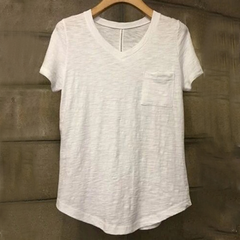 2017 New Summer T Shirt Women V Neck Bamboo Cotton Short
