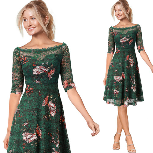 acb4623ae18ac Vfemage Womens Illusion Boat Neck Contrast Floral Lace Half Sleeve Cocktail  Wedding Party Fit and Flare Skater A-Line Dress 2338