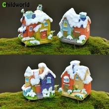 Creative Resin Mini House Figurines Fairy Garden European Style Christmas Snow Micro Landscape Bonsai Decor