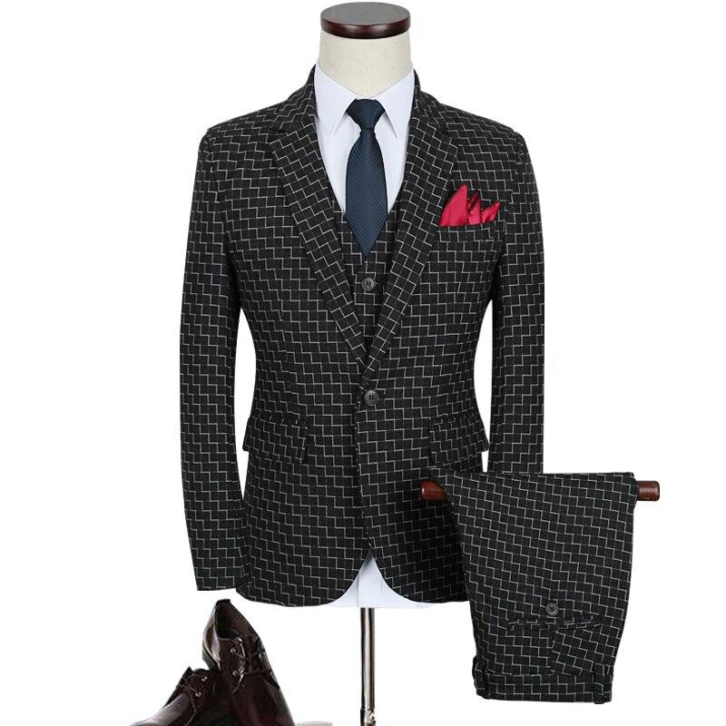 Клетчатый костюм Для мужчин 2018 Марка Slim Fit Нарядные Костюмы для свадьбы для Для мужчин осень M-5XL плюс Размеры цвет: черный, синий Для мужчин S ...
