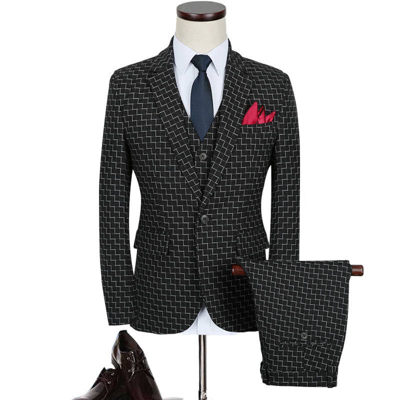 Plaid Suit Men 2019 Brand Slim Fit Wedding Suits For Men Autumn M-5XL Plus Size Black Blue Mens jacket+pants+vest 3 Piece Suits