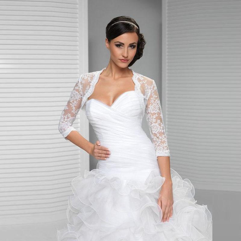 Sapphire Bridal Vintage Wedding Dress 3 4 Sleeve White: 2017 Vintage Wedding Boleros Jacket 3/4 Sleeves White
