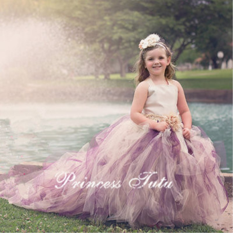 Ivory Mix Purple With Train Flower Girl Dress For Wedding Birthday Girls Pageant Tutu Dress Vintage Photography Prop girl dress white mix ivory floor length flower girl tutu dress girls clothes for wedding birthday party