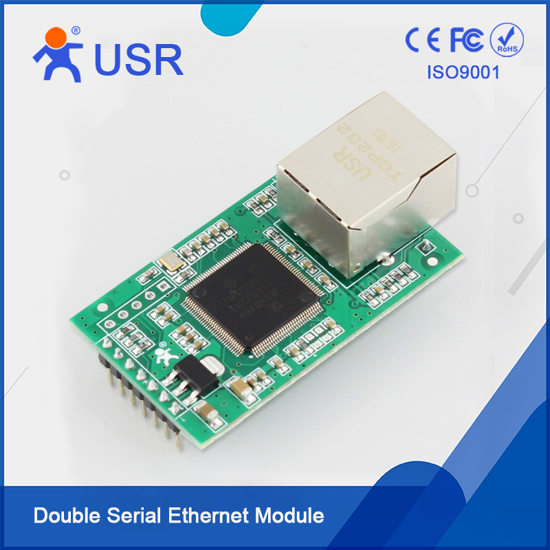 USR-TCP232-E2 Double UART Ethernet Converter TTL to RJ45 Module Built-in Webpage Supported usr tcp232 ed2 triple serial ethernet module ttl uart to ethernet tcp ip with new cortex m4 kernel free ship