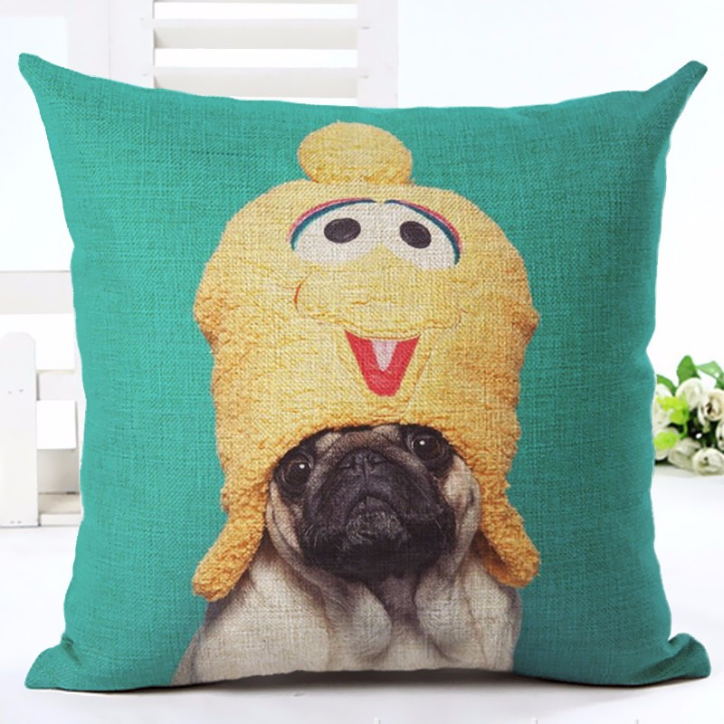 Polyester linen cushion wihtout inner french bulldog sofa cojin animal pillow pattern design home decorative throw pillows