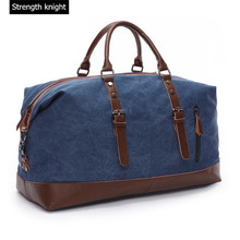 Canvas Leather Men Travel Bags Carry on Luggage Duffel Tote Large Capacity Handbag