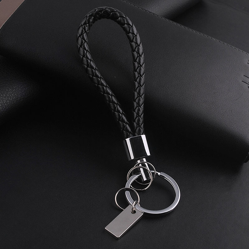 1 PC Black Leather Keychain Holder Keyring Silver Key Car Chain Rings Women  Men Jewelry 2016-in Key Chains from Jewelry   Accessories on Aliexpress.com  ... 7d542938a