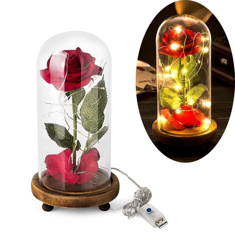 Rosa de seda artificial en una bóveda de cristal con la secuencia - Decoración del hogar