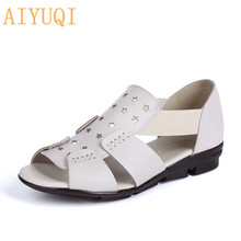 AIYUQI Summer sandals women 2019 new women's sandals genuine leather hollow open toe Non-slip flat bottom mother sandals female ceyaneao women s shoes flat sandals genuine leather women s sandals flat casual open toe bohemian sandals female summer shoe
