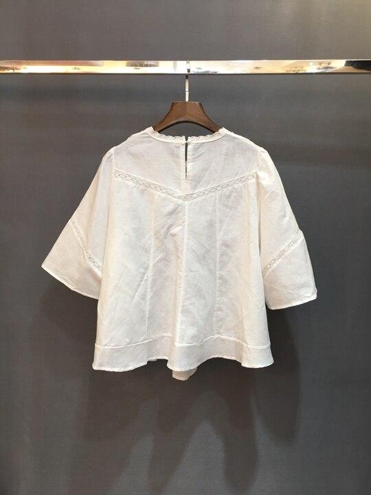 Femmes Nouvelle De Couleur Été Décoratif Creux Rond Manches Et Printemps En Soluble Europe blanc Col D'eau La Noir 2019 Sauvage Shirt0226 4x8qgwBnS