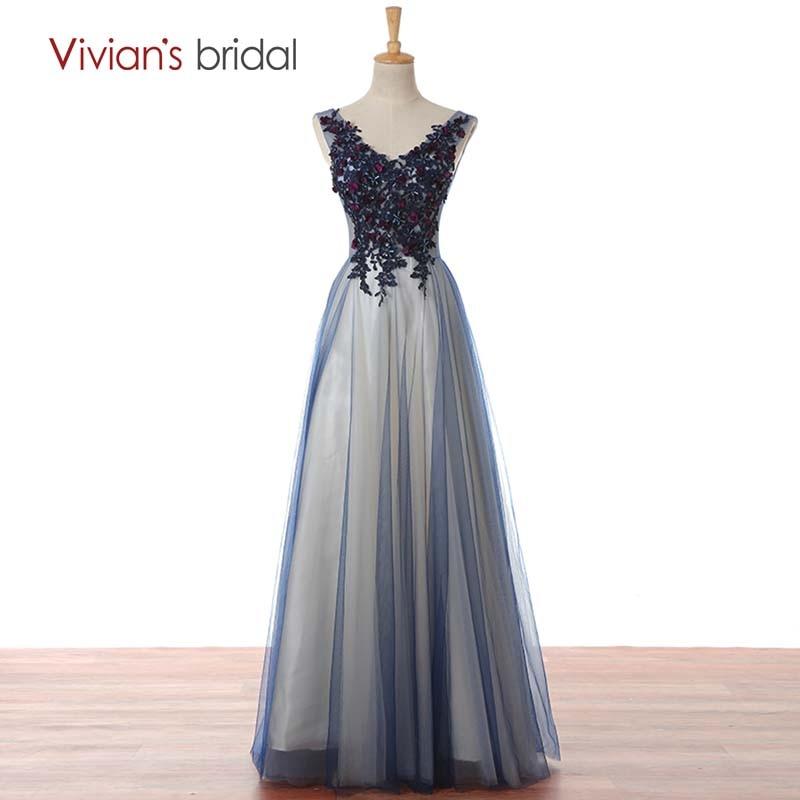 Vivian's Bridal Lace Seequin Crystal Prom Klänning Lång En Line Afton Klänning V Nacke Backless Party Gown