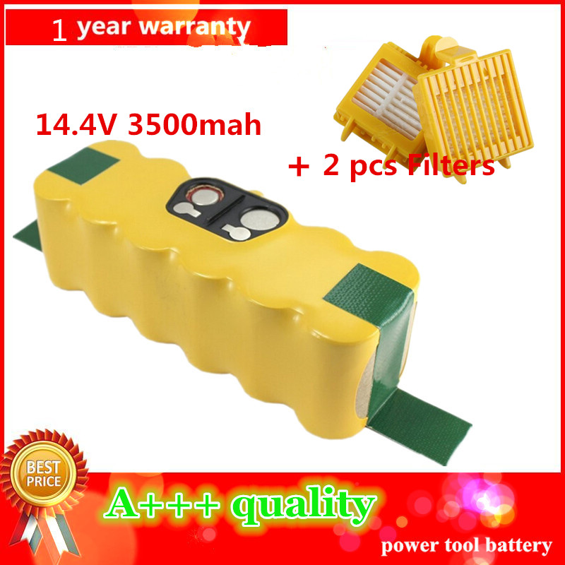 3500mAh High Quality New Battery Pack for iRobot Roomba 700 Series 770 780 790 2pcs Filters