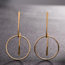 Oktrendy Simple fashion gold color Silver plated geometric big round earrings for women hollow jewelry
