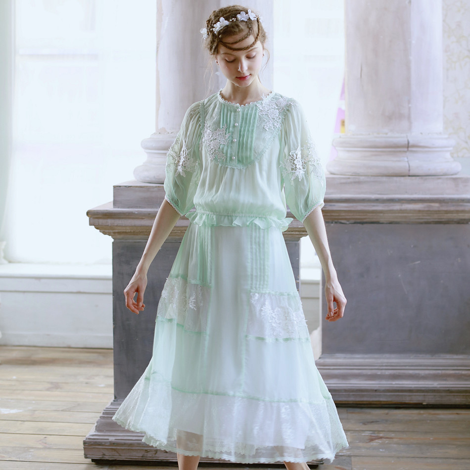 LYNETTE S CHINOISERIE Fresh green lace embroidery faux silk patchwork bust font b skirt b font