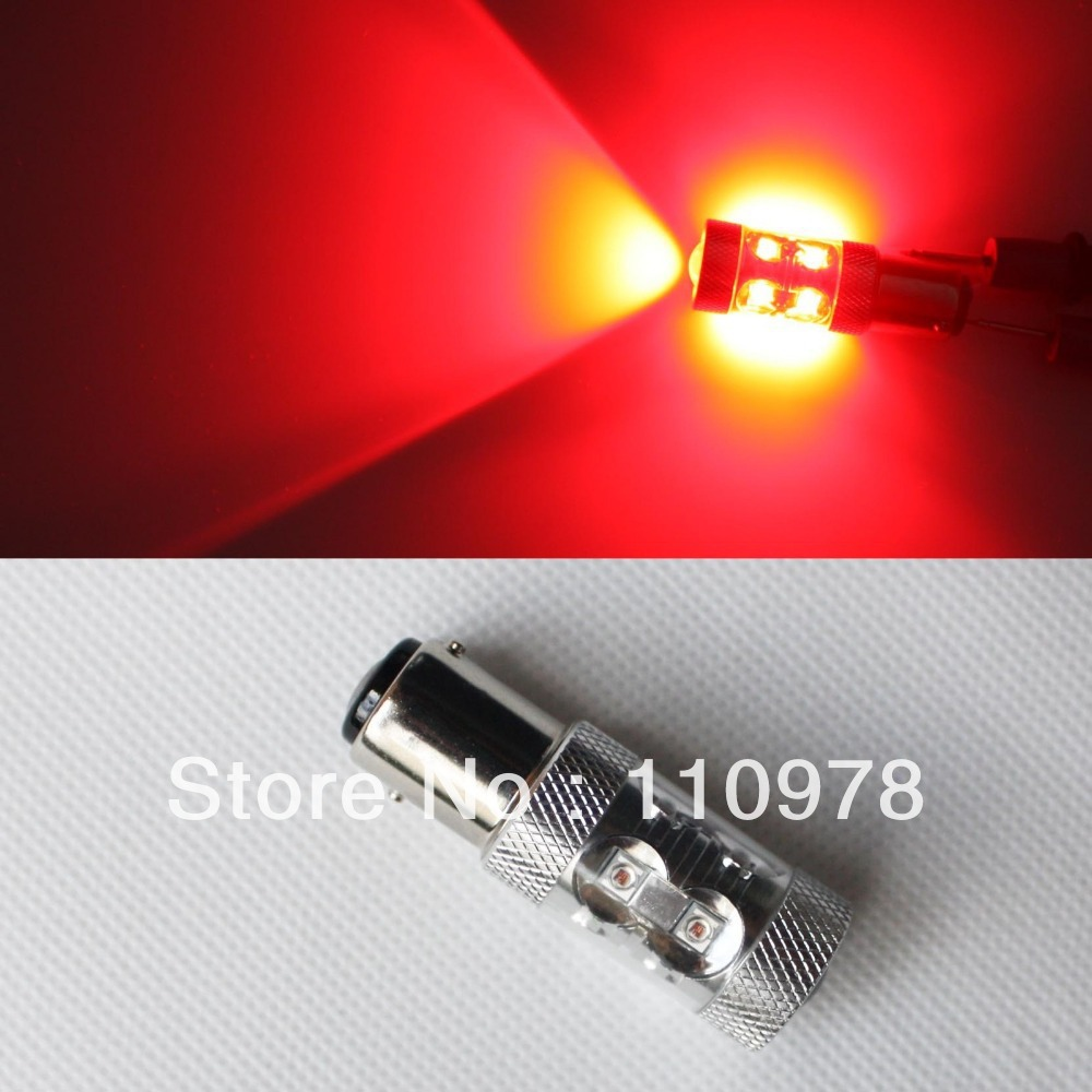 Free Shipping 2x Car 50W RED High Power LED Car 1157 BAY15D BA15D Brake Stop Reverse Back Up Light Bulb