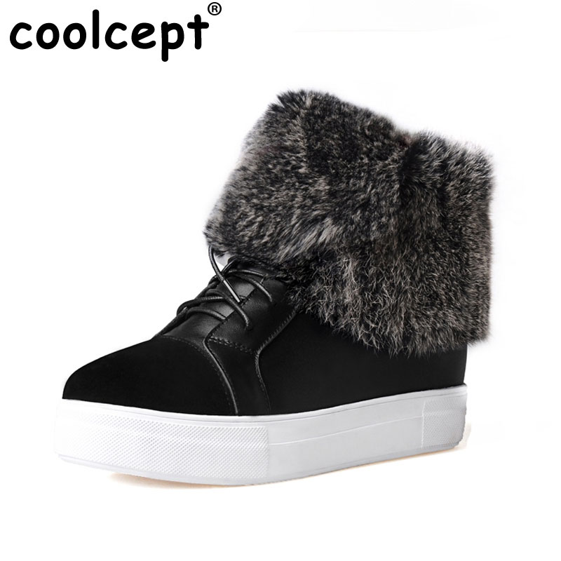 Winter Genuine Real Leather Women Ankle Lace Up Boots Snow Fur Boots Casual Flats Fashion Women Shoes Botas Mujer Size 35-39 designer women winter ankle boots female fur lace up snow boots suede plush sewing botas