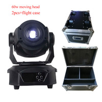 2pcs Flight Case Hot Dmx 512 Control 60w Spot Moving Head Led Stage Lighting Effect With