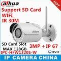 Dahua зарубежных Английская версия P2P Камеры IPC-HFW1320S-W 3MP IR30M IP67 встроенный слот для Карт SD Пуля IP камера WI-FI