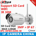Dahua exterior versão Inglês Câmera P2P 3MP IPC-HFW1320S-W IR30M IP67 construído em slot para Cartão SD Câmera WI-FI câmera IP Bala