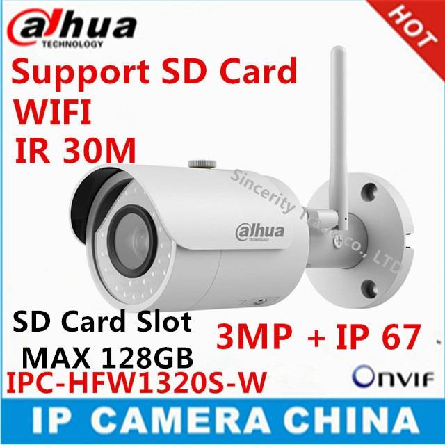 imágenes para Dahua extranjero inglés versión p2p cámara 3mp ipc-hfw1320s-w ir30m ip67 ranura integrada para tarjeta sd cámara bullet ip wifi cámara