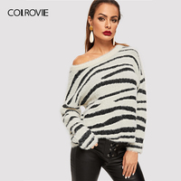 COLROVIE Animal Print Drop Shoulder Fluffy Workwear Winter Women Sweaters And Pullovers Long Sleeve Pull Femme Korean Jumper