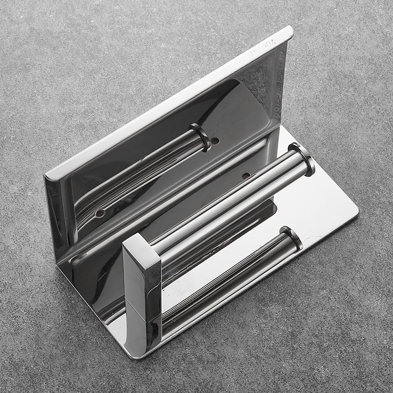 Image 5 - 304 Stainless Steel Toilet Paper Holder With Shelf Wall Mounted Toilet Tissue Mobile Phone Roll Holder Bathroom Accessories-in Paper Holders from Home Improvement