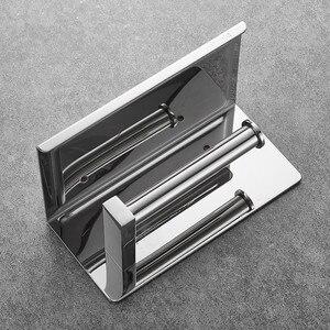 Image 5 - Portarrollos de papel higiénico de acero inoxidable 304, con estante, montado en la pared, para teléfono móvil, accesorios de baño