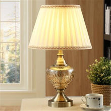 European Fashion Luxurious Amber Glass Fabric Table Lamp for Foyer Bed Room Apartment Porcelain Desk Light H 53cm 1885(China)
