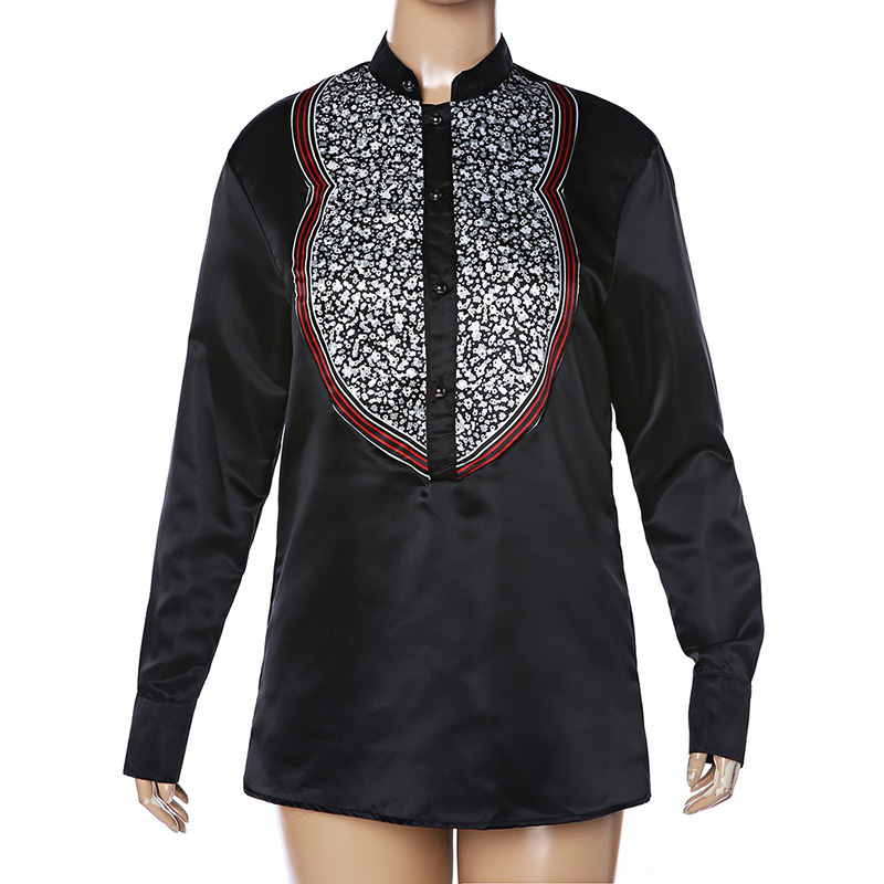 Adult Men Autumn Dashiki Printed African Black Stand Collar Shirt Blouse Male Groom Long Sleeves Button Down Tee Top Blouse