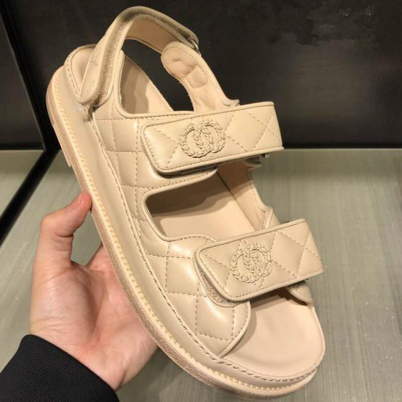 Femmes sandales 2019 playa femmes sandales plat en cuir crochet Rome couverture talon de luxe marque loisirs chaussures taille 35-40