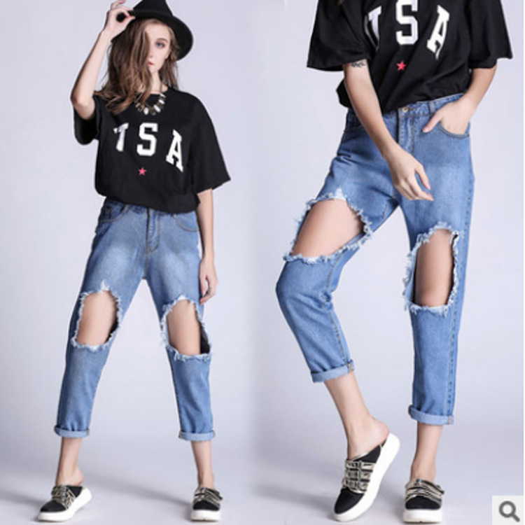 ФОТО Fashion Women's Jeans Ripped Harem Jean Pants Scratched Jeans Elastic Waist Cross Denim Trousers Loose Jeans Clothes